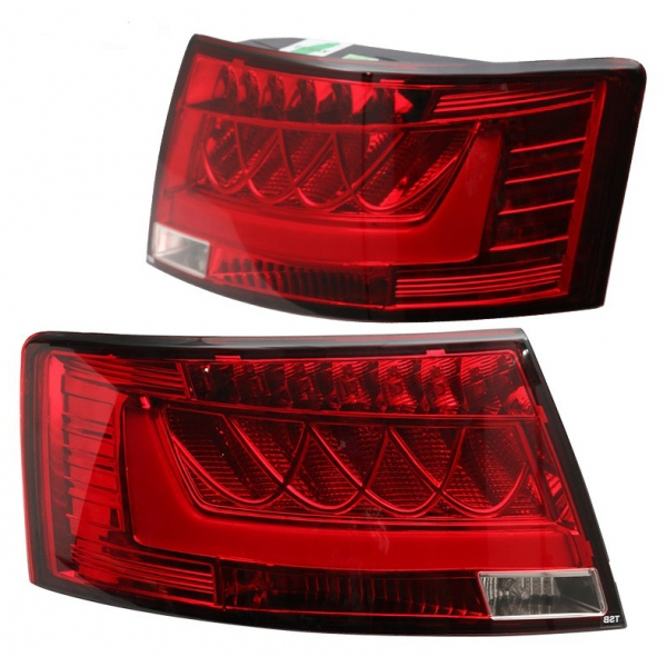 2005 - 2008 Audi A6 S6 Rear LED Tail Light Chrome Housing Red Clear Lens PAIR