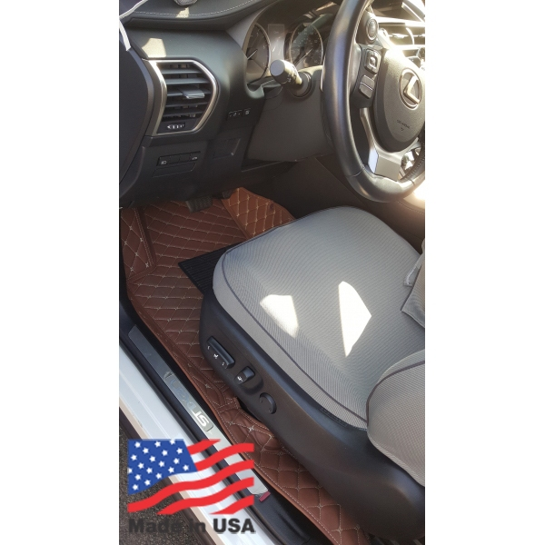 Custom Made Sanitizable Car Floor Mat Non Slip Heavy Duty Waterproof Leather Black Brown